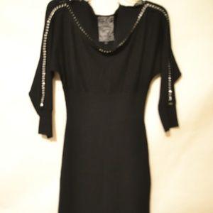 Guess Little Black Sweater Dress Accent CHAIN L